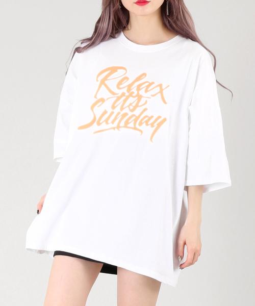 DING(ディング)の「DING/ネオンカラーTシャツ(Tシャツ/カットソー)」|ホワイト