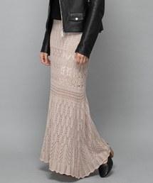 CIAOPANIC(チャオパニック)のかぎ針編み風ニットマーメイドスカート/セットアップ(スカート)