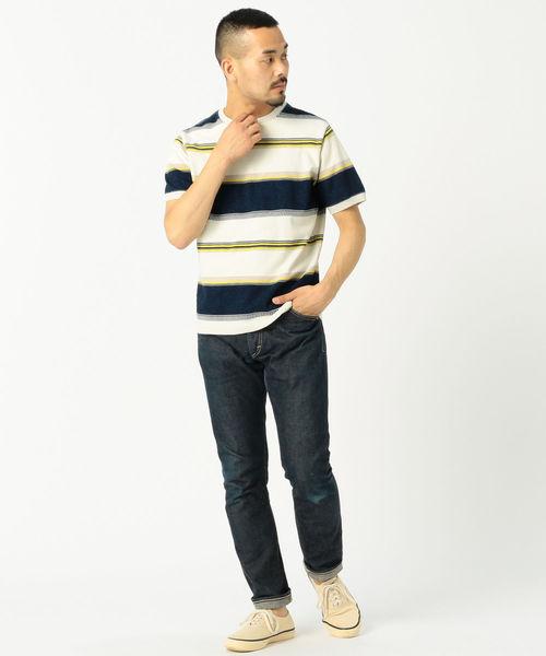 REMI RELIEF × BEAMS PLUS / 別注 インディゴ マルチ ボーダー Tシャツ