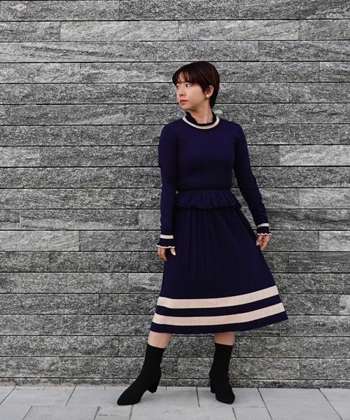 DOUBLE STANDARD CLOTHING(ダブルスタンダードクロージング)の「Sov. snowyニットワンピース(ワンピース)」|ネイビー