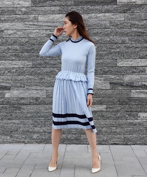 DOUBLE STANDARD CLOTHING(ダブルスタンダードクロージング)の「Sov. snowyニットワンピース(ワンピース)」|サックスブルー