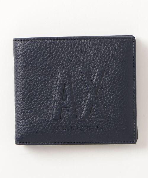 【A|X アルマーニ エクスチェンジ】AXロゴ 二つ折りレザー財布(コインケース付)