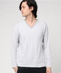 MEN'S BIGI(メンズビギ)のリーフジャガード柄 長袖Tシャツ(Tシャツ/カットソー)