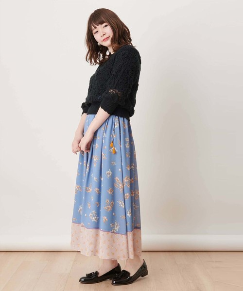 【non-no/ar掲載】ヴィンテージフラワーパネルプリントスカート
