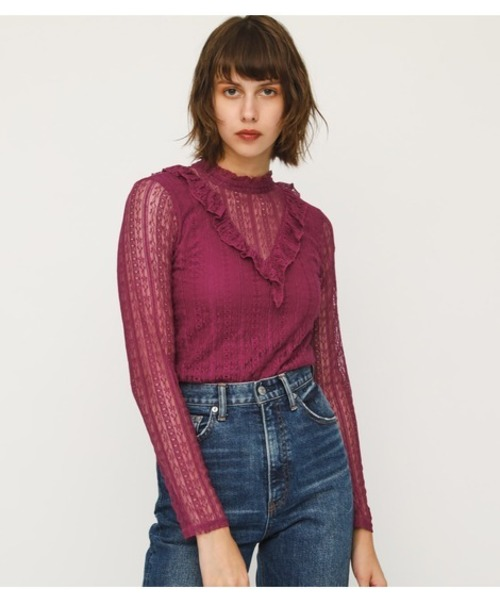STRIPE LACE STAND FRILL TOPS