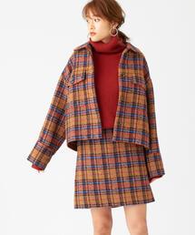 EMMEL REFINES(エメルリファインズ)のSMF チェック バックファスナー スカート(スカート)