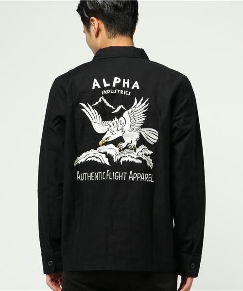 ALPHA バック刺繍ミリタリーシャツ