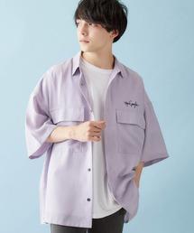 Mark Gonzales/マークゴンザレス 別注 リラックスドレープ レギュラーカラー CPOシャツ(1/2 sleeve)ライトパープル