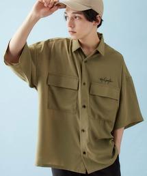 Mark Gonzales/マークゴンザレス 別注 リラックスドレープ レギュラーカラー CPOシャツ(1/2 sleeve)オリーブ