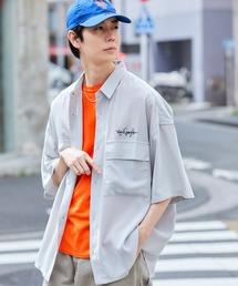 Mark Gonzales/マークゴンザレス 別注 リラックスドレープ レギュラーカラー CPOシャツ(1/2 sleeve)ライトグレー