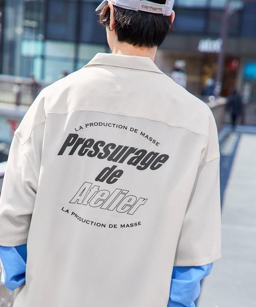 Mark Gonzales/マークゴンザレス 別注 リラックスドレープ レギュラーカラーシャツ クレリックシャツ 1/2 sleeve CPOシャツ