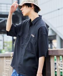 Mark Gonzales/マークゴンザレス 別注 リラックスドレープ レギュラーカラー CPOシャツ(1/2 sleeve)ブラック