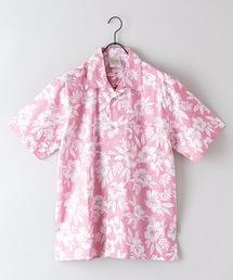 綿素材 裏プリント オープンカラー(開襟)アロハシャツレッド
