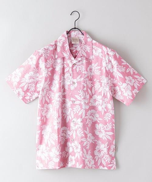 綿素材 裏プリント オープンカラー(開襟)アロハシャツ