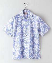 綿素材 裏プリント オープンカラー(開襟)アロハシャツブルー