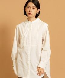 ピンタックチュニックシャツオフホワイト