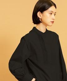 ピンタックチュニックシャツブラック