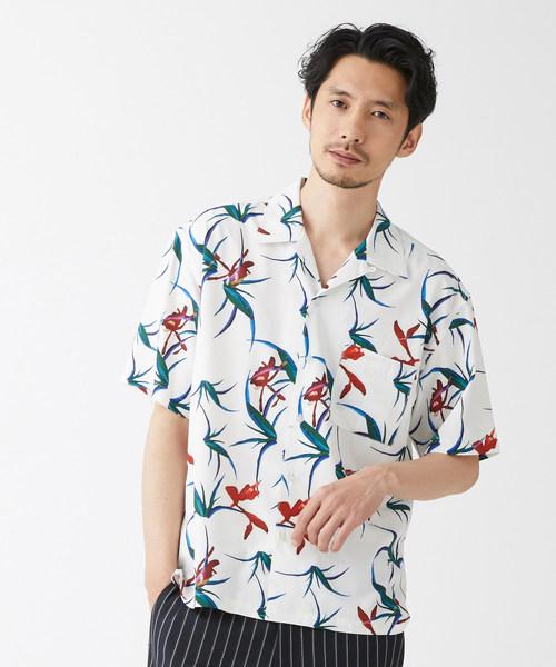 MORGAN HOMME(モルガンオム)の「LEUR-DE-LIS オープンカラーシャツ(シャツ/ブラウス)」|ホワイト