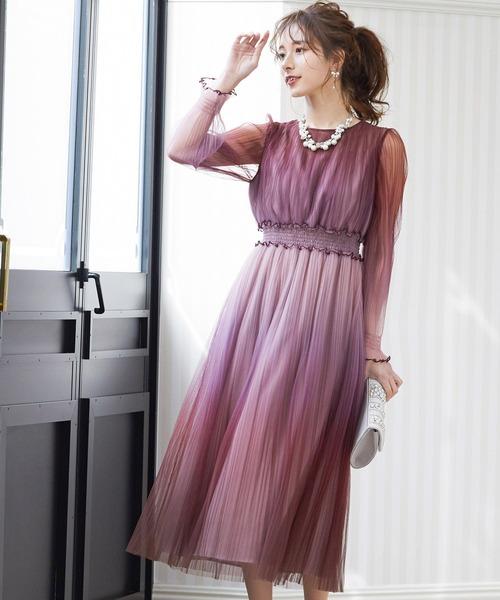 niana(ニアナ)の「グラデーションチュールプリーツワンピース 結婚式 ドレス(ドレス)」|ピンク