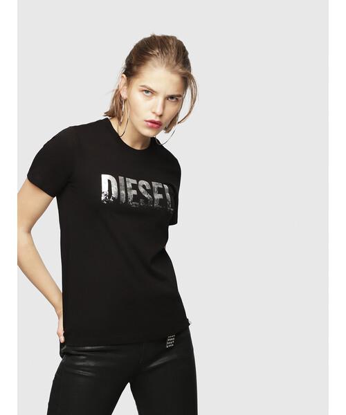 レディース Tシャツ メタリックロゴTシャツ