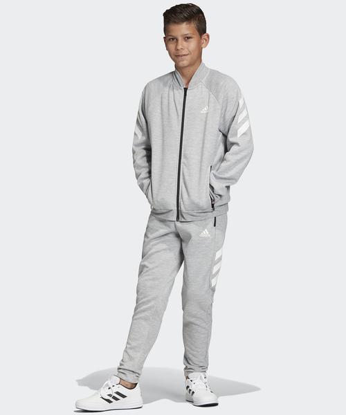 adidas(アディダス)の「トラックスーツ / ジャージセットアップ [Track Suit] アディダス(キッズ/子供用)(ジャージ)」|グレー×ホワイト