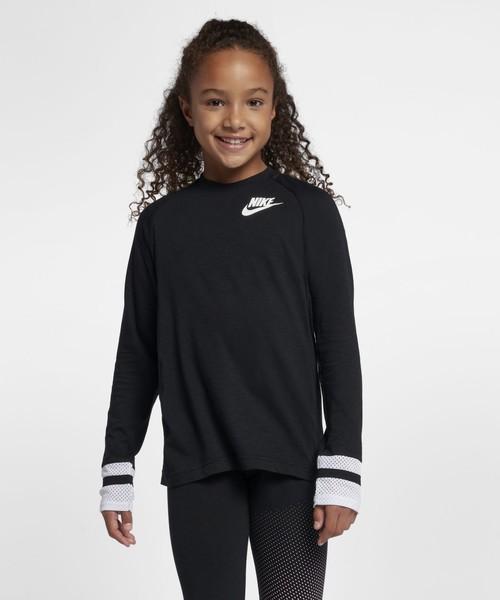 NIKE(ナイキ)の「ナイキ スポーツウェア ジュニア (ガールズ) ロングスリーブ トップ(Tシャツ/カットソー)」|ブラック