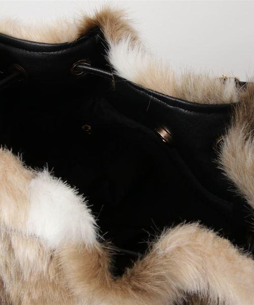 《数量限定販売》ミックスエコファーバッグ ファー 巾着ショルダーバッグ