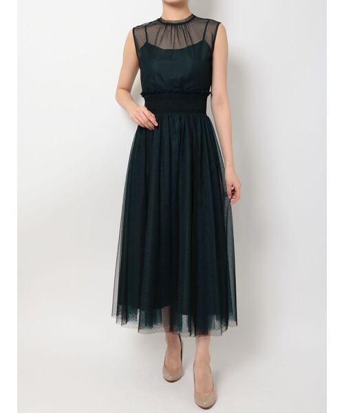 MERCURYDUO(マーキュリーデュオ)の「ドットチュールスモッキングワンピース(ドレス)」|ダークグリーン