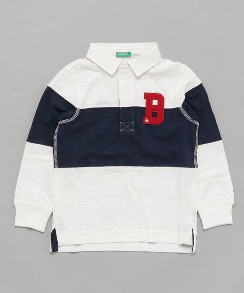 KIDSサガラ刺繍ベーシックロゴ長袖ラガーシャツ
