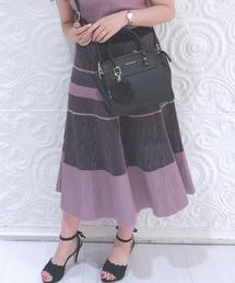 MISCH MASCH(ミッシュマッシュ)のセットアップ対応配色ニットスカート(スカート)