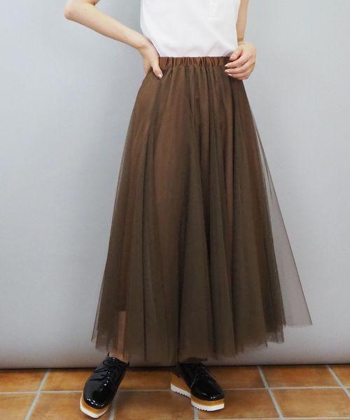 tiptop(ティップトップ)の「チュールロングスカート(スカート)」|ダークブラウン