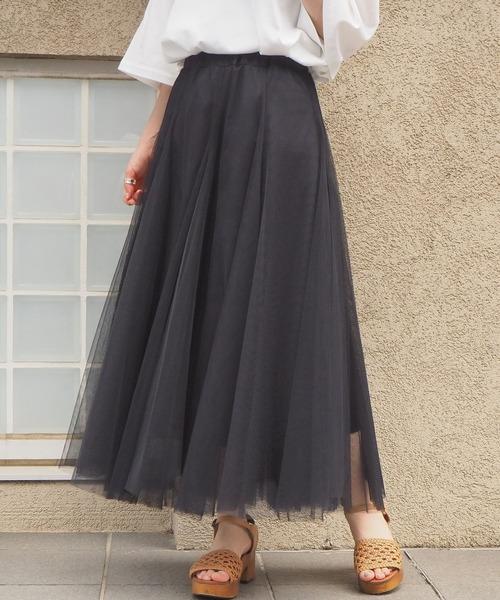 tiptop(ティップトップ)の「チュールロングスカート(スカート)」|ブラック