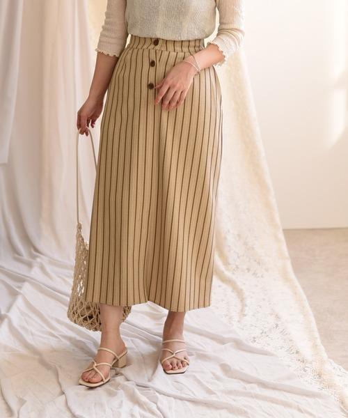 ストライプタイトスリットスカート