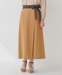 【THE CHIC】コットンリネンバイカラーラップスカートキャメル