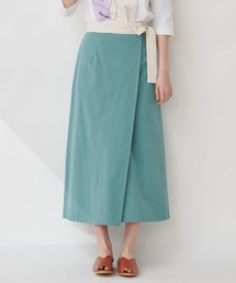 【THE CHIC】コットンリネンバイカラーラップスカートミント