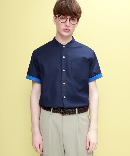 LINEN×COTTONオーバーサイズバンドカラーシャツ