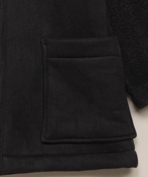 [ジュニアサイズ]裏ボア合皮スエードフード付きコート