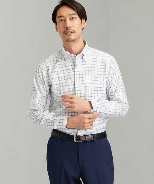 [JUST LENGTH] ACTIVE PLUS スリム ウィンドウペーン ショートボタンダウン- ドレスシャツ