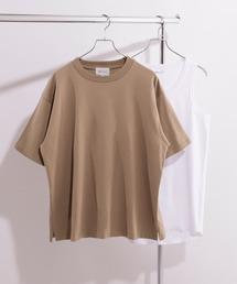 ヘビーウェイト ビッグシルエット クルーネック Tシャツ / ロング タンクトップ セット(EMMA CLOTHES)ダークブラウン