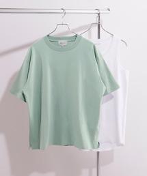 ヘビーウェイト ビッグシルエット クルーネック Tシャツ / ロング タンクトップ セット(EMMA CLOTHES)グリーン系その他