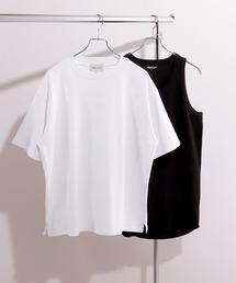 ヘビーウェイト ビッグシルエット クルーネック Tシャツ / ロング タンクトップ セット(EMMA CLOTHES)ホワイト