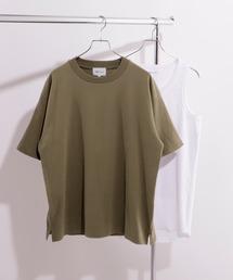 ヘビーウェイト ビッグシルエット クルーネック Tシャツ / ロング タンクトップ セット(EMMA CLOTHES)カーキ