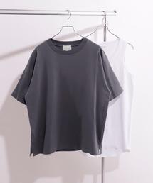 ヘビーウェイト ビッグシルエット クルーネック Tシャツ / ロング タンクトップ セット(EMMA CLOTHES)チャコール