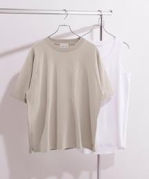 ヘビーウェイト ビッグシルエット クルーネック Tシャツ / ロング タンクトップ セット(EMMA CLOTHES)サンドベージュ