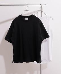 ヘビーウェイト ビッグシルエット クルーネック Tシャツ / ロング タンクトップ セット(EMMA CLOTHES)ブラック