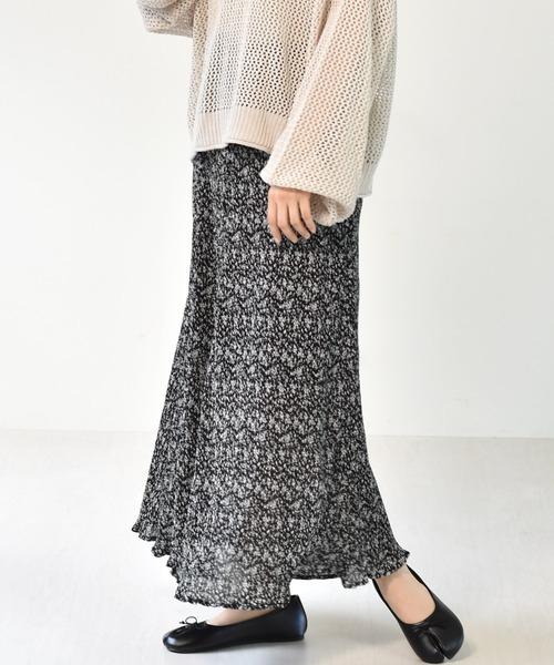 プリーツ柄マーメイドスカート