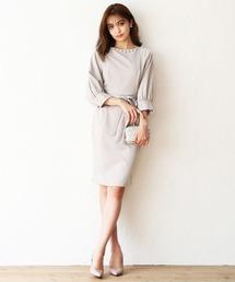 DRESS LAB(ドレスラボ)のパール ラグラン ワンピース ドレス ベルト付き【2点セット】結婚式 フォーマル パーティードレス(ドレス)