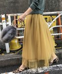 AMERI | LOTUS PLEATS TULLE SKIRT(スカート)