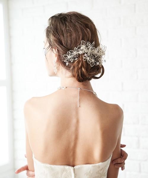 ビーズフラワーヘッドドレス