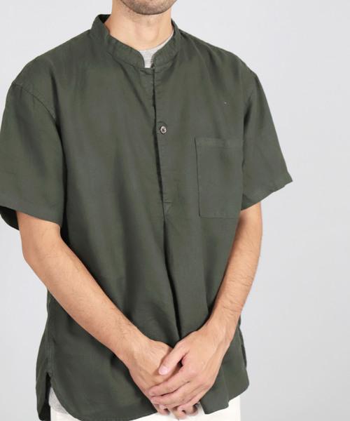 [OMNIGOD / オムニゴッド] 麻キャンバスショートスリーブオリエントシャツ